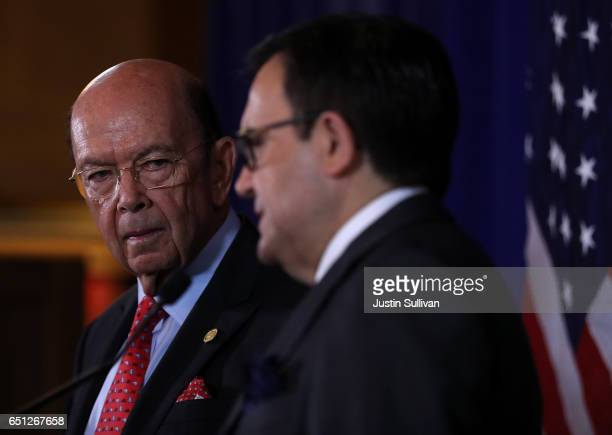 S Secretary of Commerce Wilbur Ross look on as Mexico's Minister of Economy Ildefonso Guajardo Villarreal speaks during a news conference on March 10...