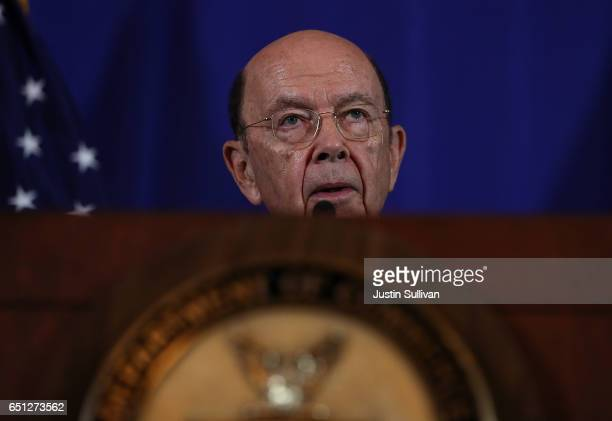 S Secretary of Commerce Wilbur Ross speaks during a joint news conference with Mexico's Minister of Economy Ildefonso Guajardo Villarreal on March 10...