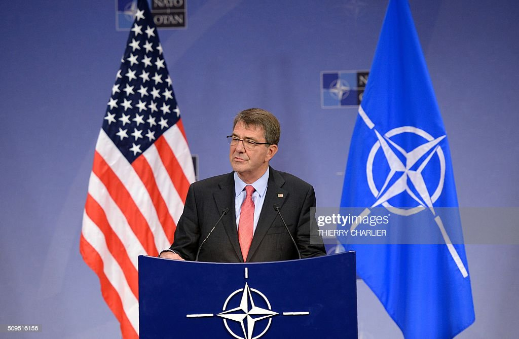 US Secretary of Defence Ashton Carter addresses the media during the North Atlantic Council of Defence Ministers' meeting at the NATO headquarter in...