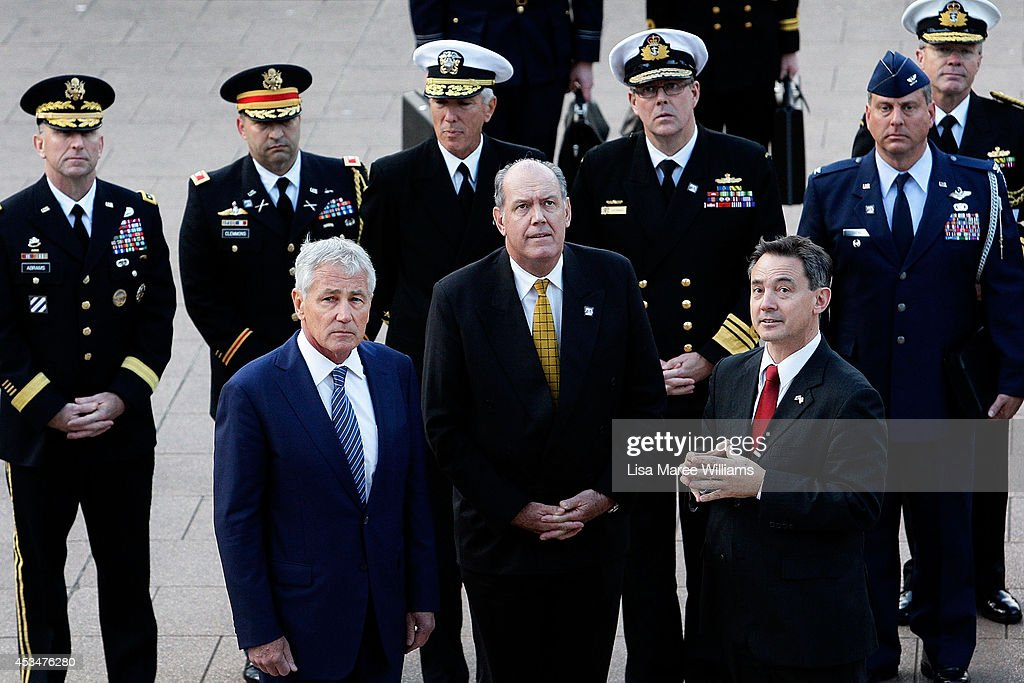 US Secretary of Defence Chuck Hagel and Australian Defence Minister David Johnston arrive at ANZAC Memorial in Hyde Park for a wreath laying ceremony on August 11, 2014 in Sydney, Australia. US Sercretary of State John Kerry and US Secretary of Defence, Chuck Hagel will join Australian Foreign Minister Julie Bishop and Australian Defence Minister David Johnston at the annual Australia-Unites States Ministerial Consultations (AUSMIN) in Sydney tomorrow.