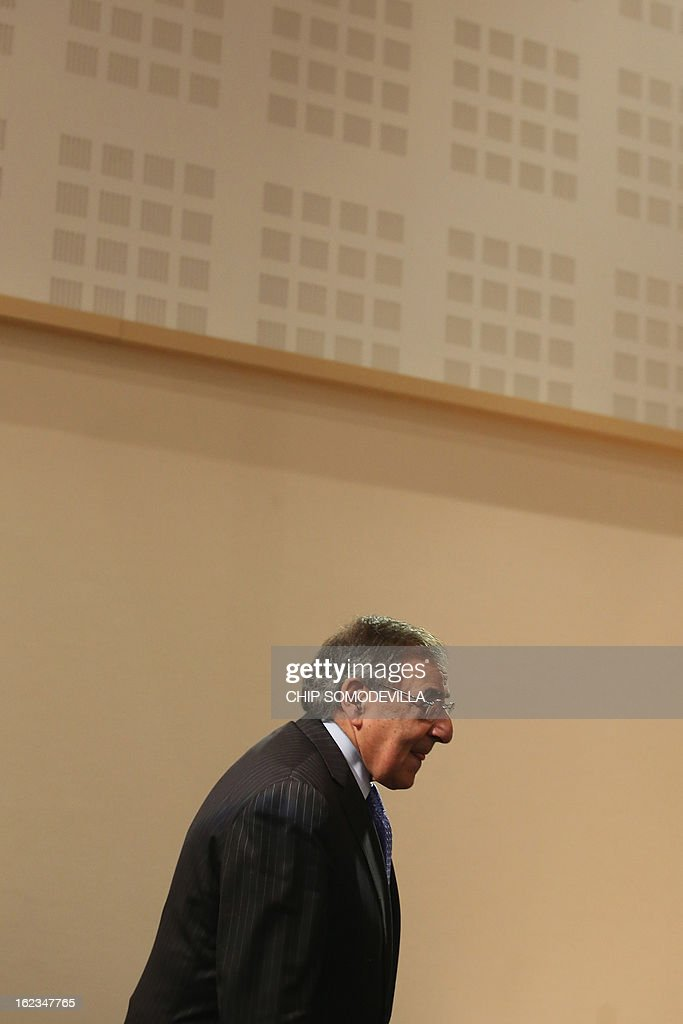 U.S. Secretary of Defence Leon Panetta arrives to give a press conference at the end of the North-Atlantic council meeting of Defence ministers at NATO headquarter in Brussels, on February 22, 2013. AFP PHOTO POOL CHIP SOMODEVILLA