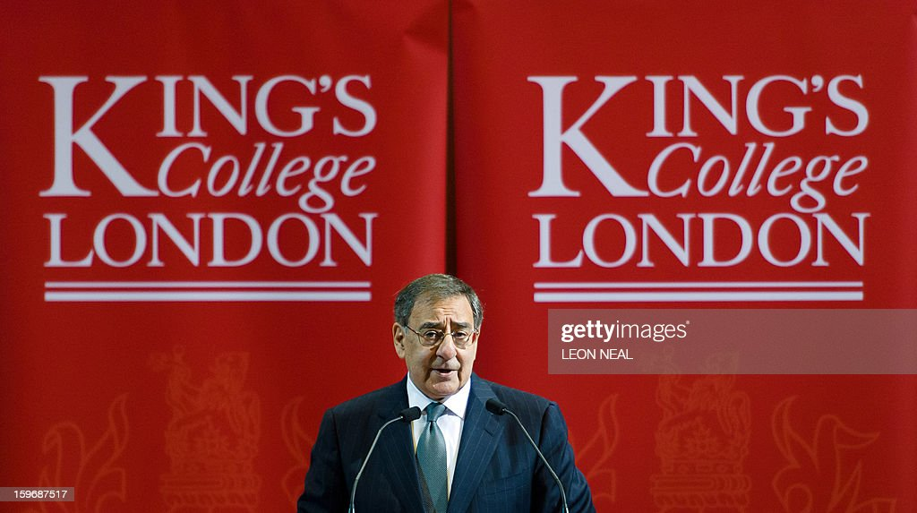 US Secretary of Defence Leon Panetta delivers a speech in the Great Hall of King's College in central London on January 18, 2013. 'Terrorists' who attack US interests have no place to hide, Panetta said as fears grew for the dozens of foreigners taken hostage by Islamists at a gas plant in Algeria.