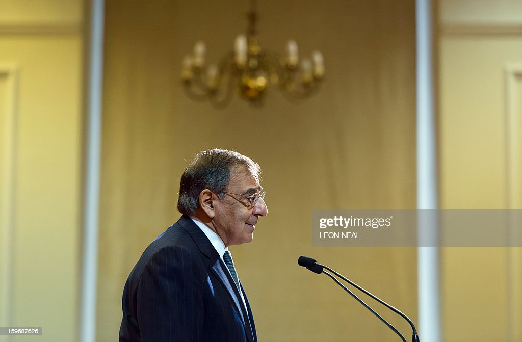 US Secretary of Defence Leon Panetta delivers a speech in the Great Hall of King's College in central London on January 18, 2013. 'Terrorists' who attack US interests have no place to hide, Panetta said as fears grew for the dozens of foreigners taken hostage by Islamists at a gas plant in Algeria. AFP PHOTO/LEON NEAL