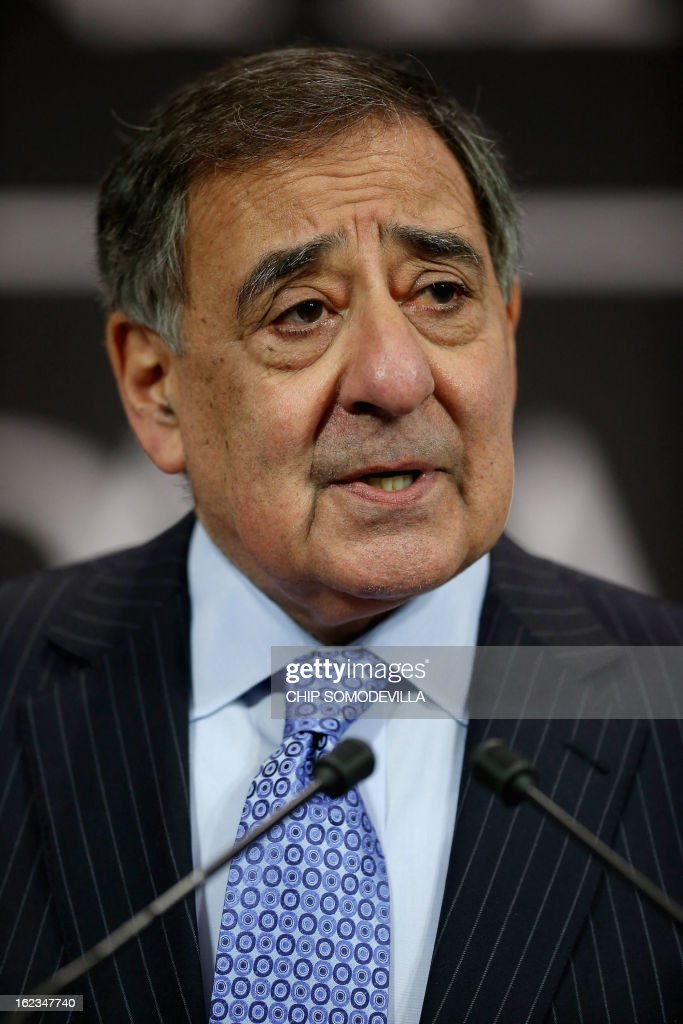 U.S. Secretary of Defence Leon Panetta gives a press conference at the end of the North-Atlantic council meeting of Defence ministers at NATO headquarter in Brussels, on February 22, 2013.
