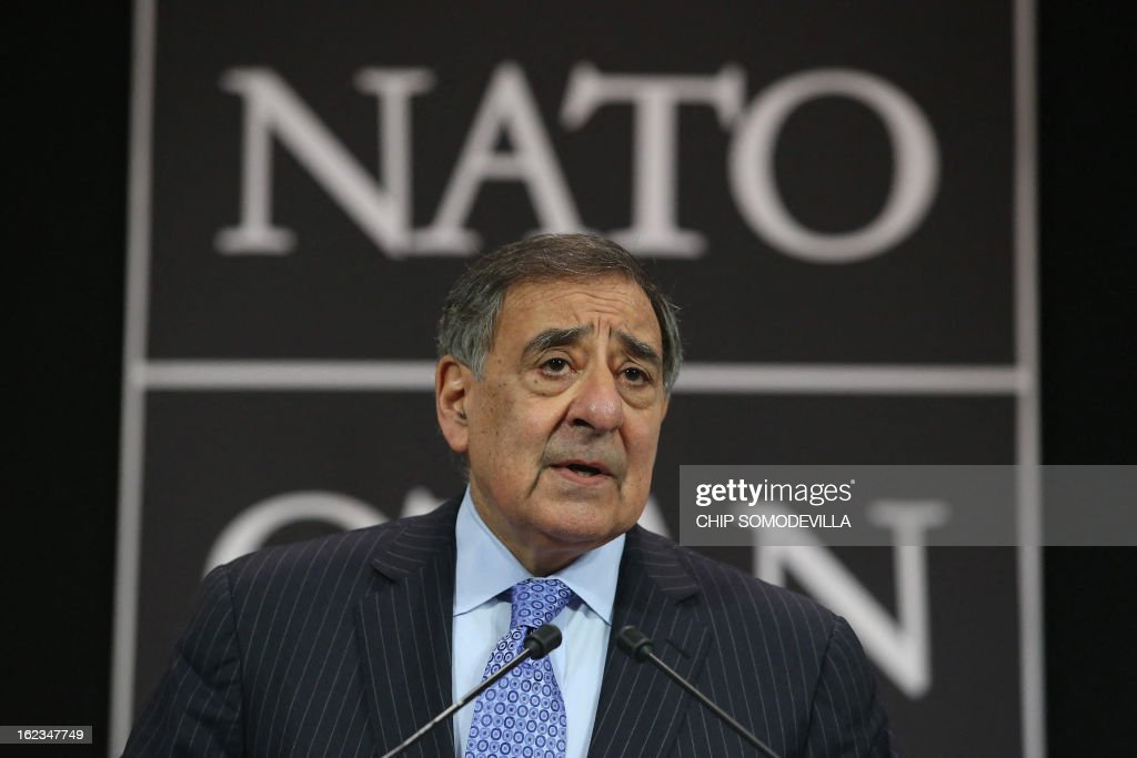 U.S. Secretary of Defence Leon Panetta gives a press conference at the end of the North-Atlantic council meeting of Defence ministers at NATO headquarter in Brussels, on February 22, 2013. AFP PHOTO POOL CHIP SOMODEVILLA