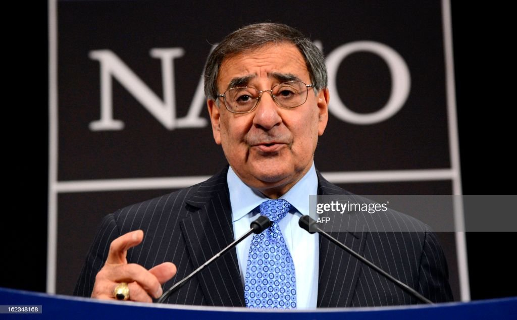 U.S. Secretary of Defence Leon Panetta gives a press conference at the end of the North-Atlantic council meeting of Defence ministers at NATO headquarter in Brussels, on February 22, 2013. AFP PHOTO THIERRY CHARLIER