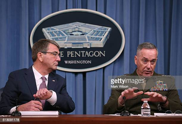 S Secretary Of Defense Ash Carter and Chairman of the Joint Chiefs Gen Joseph Dunford speak to the media in the Pentagon briefing room on February 29...