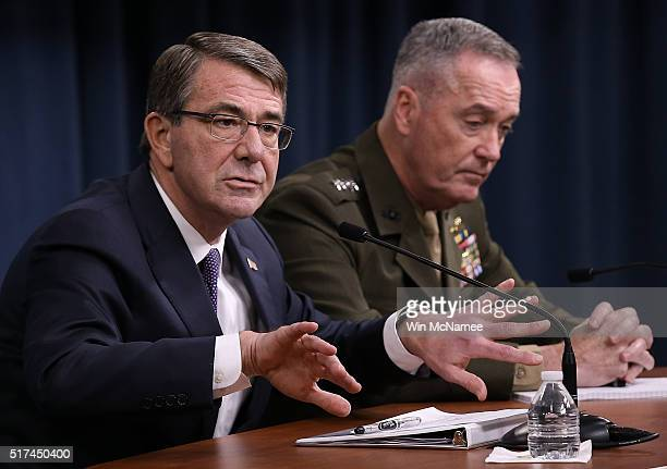 S Secretary of Defense Ash Carter and Chairman of the Joint Chiefs of Staff Gen Joseph Dunford brief members of the press at the Pentagon March 25...