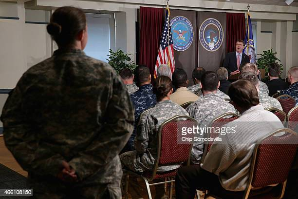 S Secretary of Defense Ash Carter answers questions from US Cyber Command troops while visiting the National Security Agency and command headquarters...