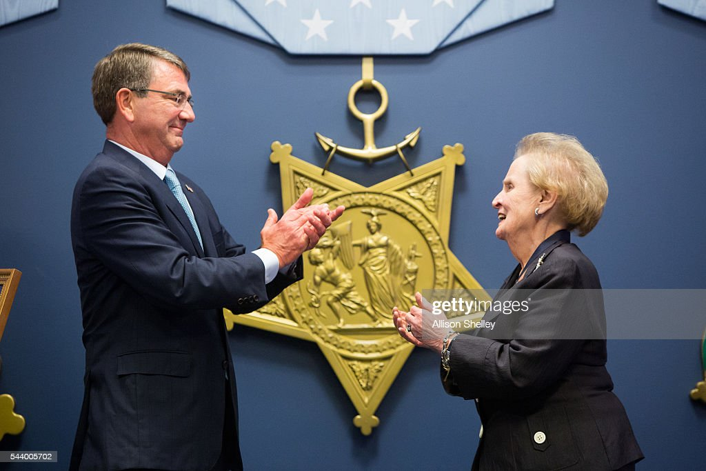 Secretary of Defense Ash Carter applauds after presenting former Secretary of State <a gi-track='captionPersonalityLinkClicked' href=/galleries/search?phrase=Madeleine+Albright&family=editorial&specificpeople=211429 ng-click='$event.stopPropagation()'>Madeleine Albright</a> the Department of Defense Medal for Distinguished Public Service, on June 30, 2016 at the Pentagon in Arlington, Virginia.