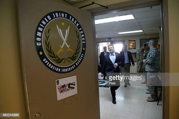 S Secretary of Defense Ash Carter arrives for a regional security meeting at Camp Arifjan on February 23 2015 in Kuwait Carter will chair a meeting...
