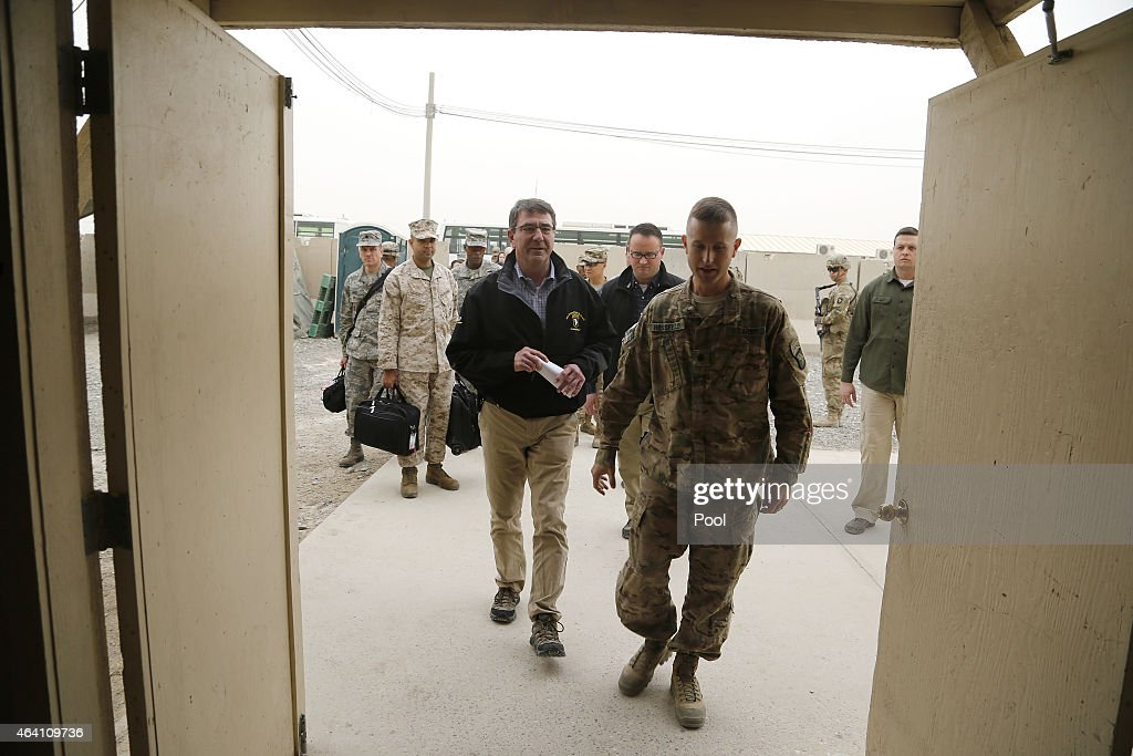 S Secretary of Defense Ash Carter arrives to hold a questionandanswer session with US military personnel at Kandahar Airfield on February 22 2015 in...
