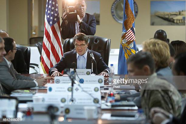 S Secretary of Defense Ash Carter begins a regional security meeting at Camp Arifjan on February 23 2015 in Kuwait Carter will chair a meeting on...
