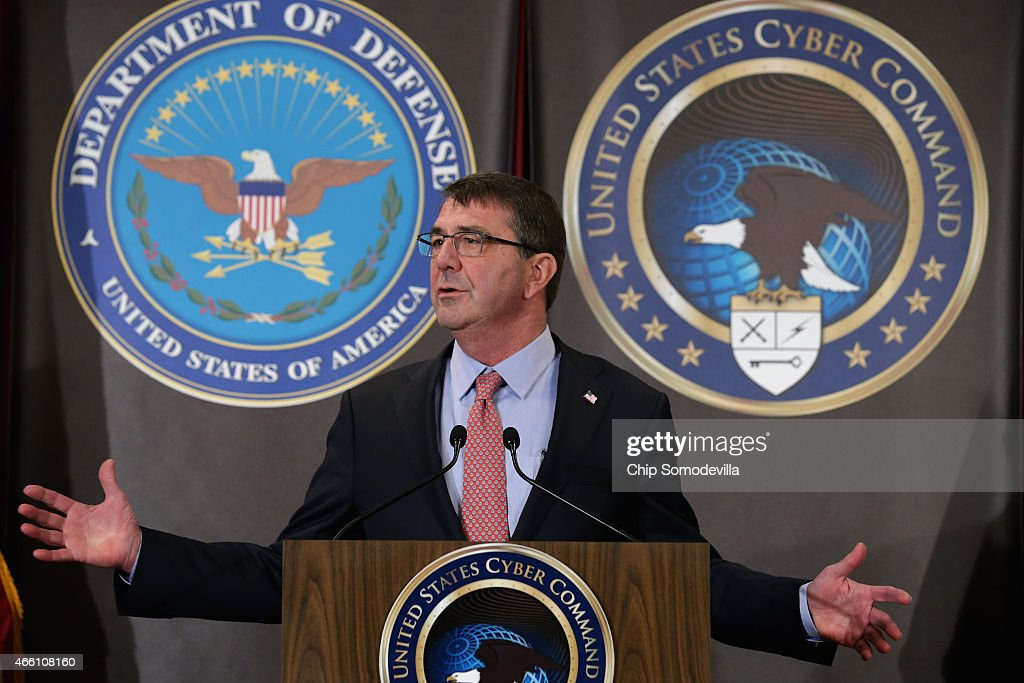 S Secretary of Defense Ash Carter delivers remarks to an audience of US Cyber Command troops and National Security Agency employees while visiting...