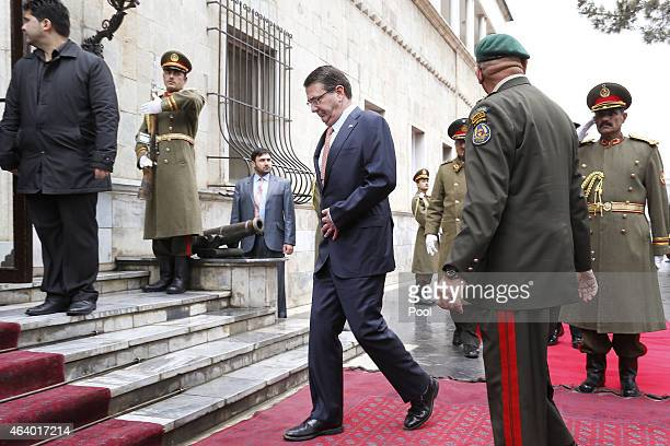 S Secretary of Defense Ash Carter is greeted with a military honor cordon as he arrives to meet Afghan President Ashraf Ghani at the Presidential...