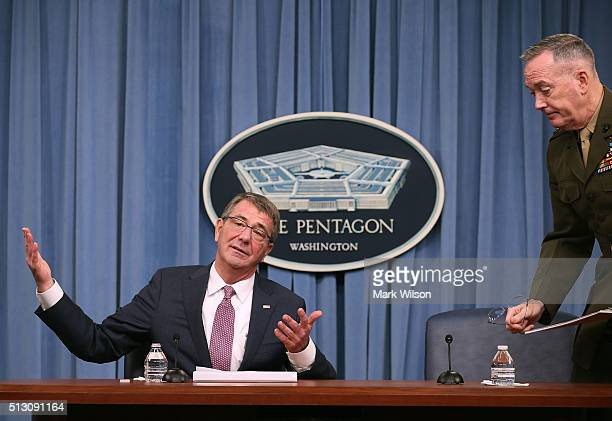 S Secretary Of Defense Ash Carter is joined by and Chairman of the Joint Chiefs Gen Joseph Dunford to speak to the media in the Pentagon briefing...