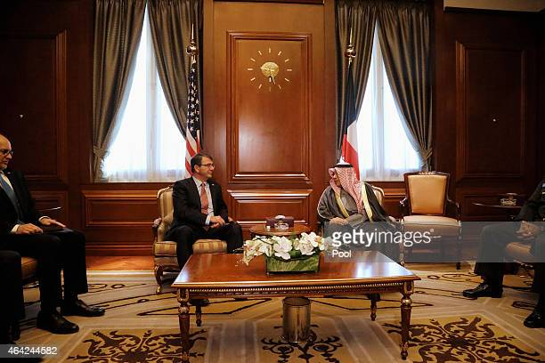S Secretary of Defense Ash Carter meets Kuwait's Defense Minister Sheikh Khalid alJarrah alSabah at the Amiri Terminal at Kuwait City International...