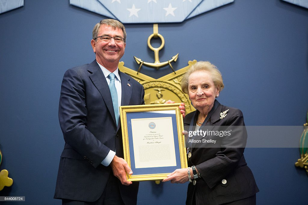 Secretary of Defense Ash Carter presents former Secretary of State <a gi-track='captionPersonalityLinkClicked' href=/galleries/search?phrase=Madeleine+Albright&family=editorial&specificpeople=211429 ng-click='$event.stopPropagation()'>Madeleine Albright</a> the Department of Defense Medal for Distinguished Public Service, on June 30, 2016 at the Pentagon in Arlington, Virginia.