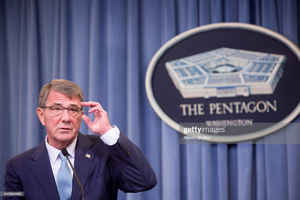 Secretary of Defense Ash Carter speaks during a press conference on June 30, 2016 at the Pentagon in Arlington, Virginia. Carter announced an expanded policy of acceptance regarding transgender U.S. military service members.