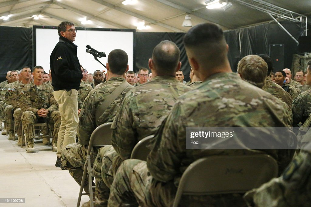 S Secretary of Defense Ash Carter speaks during his questionandanswer session with US military personnel at Kandahar Airfield on February 22 2015 in...
