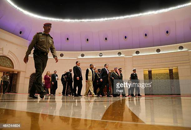 S Secretary of Defense Ash Carter walks with Kuwait's Defense Minister Sheikh Khalid alJarrah alSabah at the Amiri Terminal at Kuwait City...