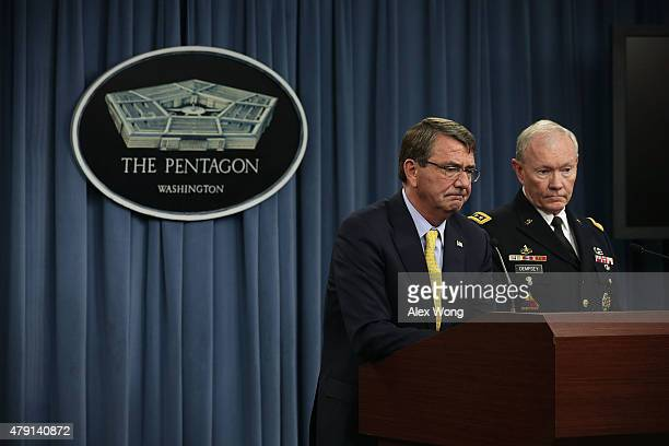 S Secretary of Defense Ashton Carter and Chairman of the Joint Chief of Staff Gen Martin Dempsey participate in a news conference July 1 2015 at the...