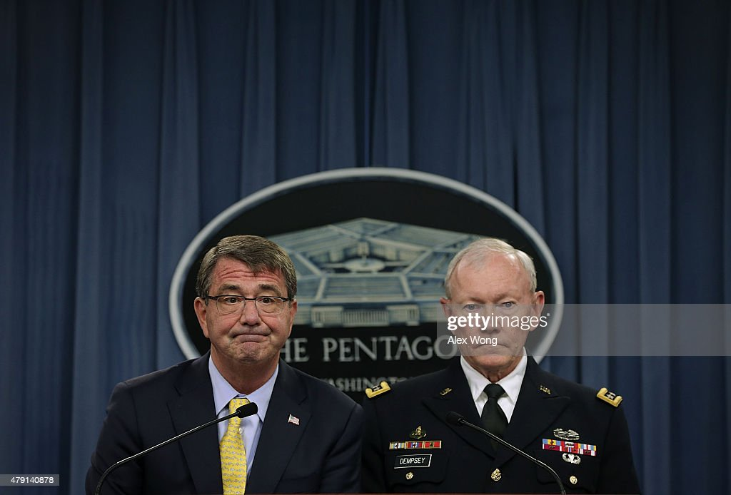 U.S. Secretary of Defense Ashton Carter (L) and Chairman of the Joint Chief of Staff Gen. Martin Dempsey (R) participate in a news conference July 1, 2015 at the Pentagon in Arlington, Virginia. Secretary Carter announced that President Obama is nominating Lt. Gen. Robert Neller to be the next Marine Corps commandant.