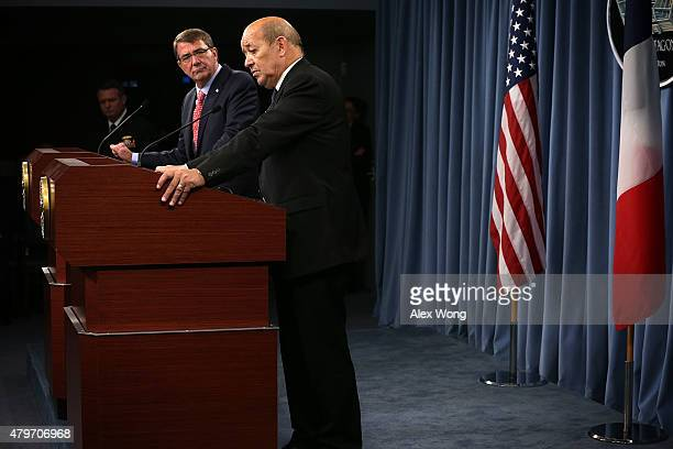 S Secretary of Defense Ashton Carter and French Minister of Defense JeanYves Le Drian conduct a joint news conference at the Pentagon July 6 2015 in...