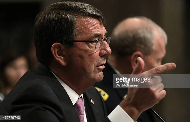 S Secretary of Defense Ashton Carter answers questions from committee chairman Sen John McCain during a hearing held by the Senate Armed Services...