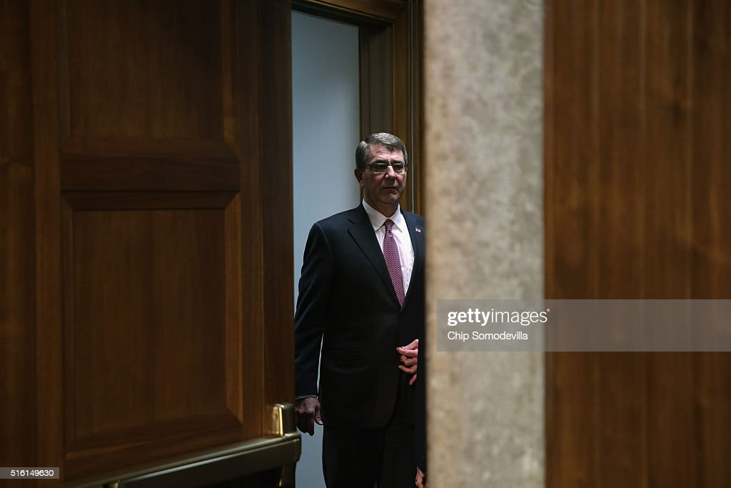 S Secretary of Defense Ashton Carter arrives for a Senate Armed Services Committee hearing about the Pentagon budget in the Dirksen Senate Office...