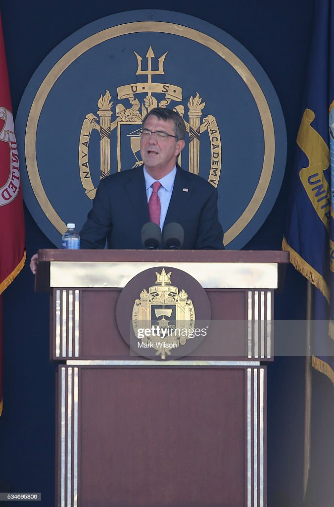 U.S. Secretary of Defense <a gi-track='captionPersonalityLinkClicked' href=/galleries/search?phrase=Ashton+Carter&family=editorial&specificpeople=956792 ng-click='$event.stopPropagation()'>Ashton Carter</a> delivers this year's commencement speech to the class of 2016 during graduation ceremonies at the U.S. Naval Academy May 27, 2016 in Annapolis, Maryland.