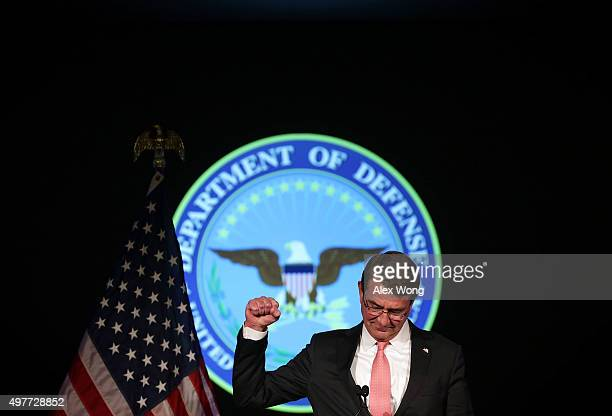 S Secretary of Defense Ashton Carter gestures as he addresses the faculty and students of George Washington University November 18 2015 in Washington...