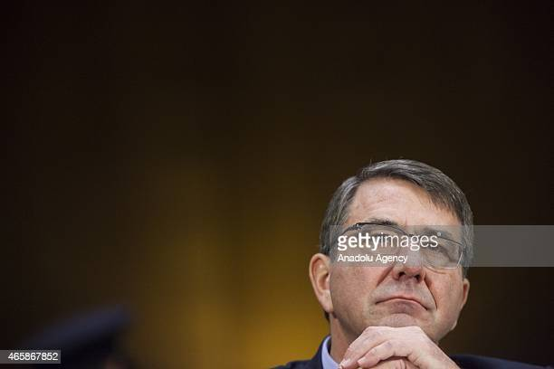 Secretary of Defense Ashton Carter listens to opening remarks from the Senators during a Senate Foreign Relations Committee hearing on The...