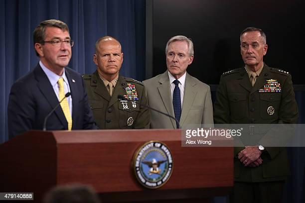 US Secretary of Defense Ashton Carter speaks as Lt Gen Robert Neller Secretary of the Navy Ray Mabus and Gen Joseph Dunford listen during a news...