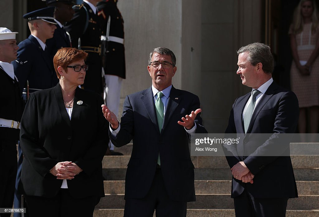 S Secretary of Defense Ashton Carter welcomes Australian Defense Minister Marise Payne and Australian Minister for Defense Industry Christopher Pyne...