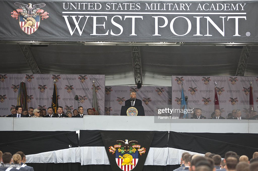 Secretary of Defense Chuck Hagel addresses the United States Military Academy at West Point during the 215 commencement ceremony May 25 2013 in West...