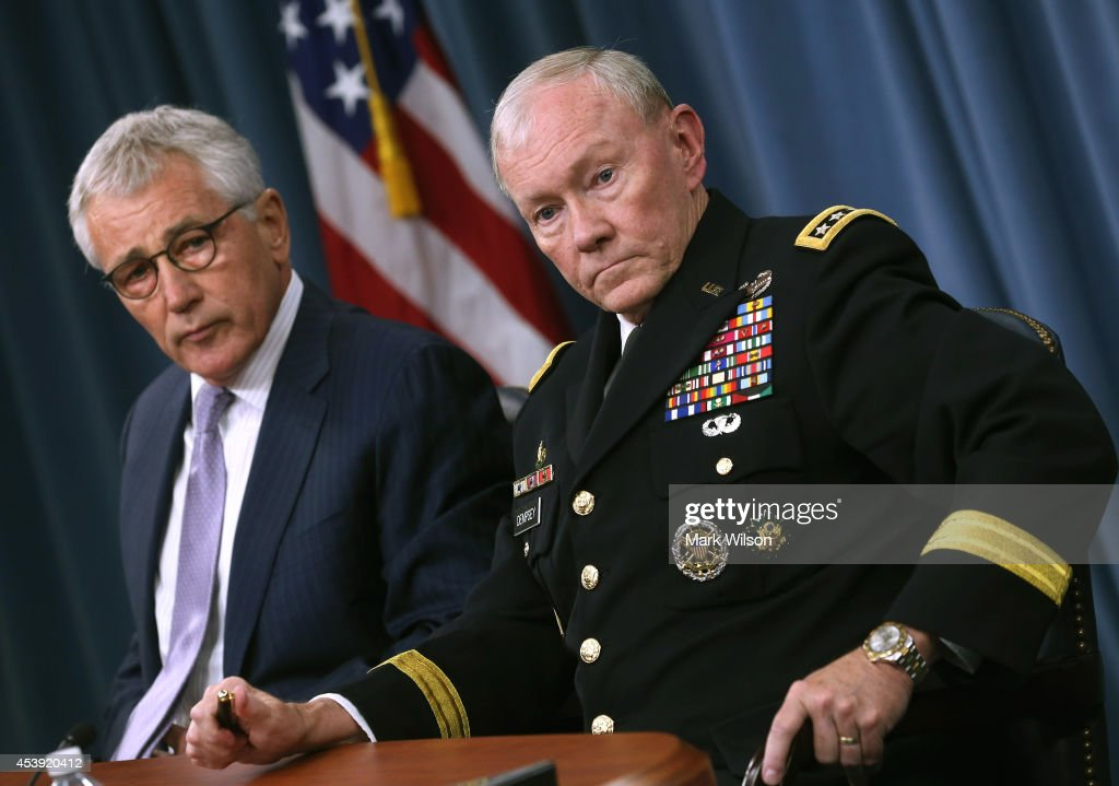 Secretary Of Defense Chuck Hagel Holds Press Briefing At Pentagon