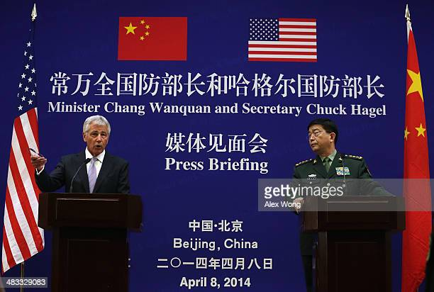 S Secretary of Defense Chuck Hagel and Chinese Minister of Defense Chang Wanquan participate in a joint news conference at the Chinese Defense...