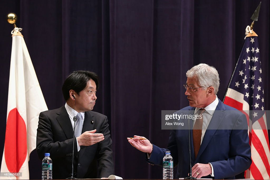 U.S. Secretary of Defense <a gi-track='captionPersonalityLinkClicked' href=/galleries/search?phrase=Chuck+Hagel&family=editorial&specificpeople=504963 ng-click='$event.stopPropagation()'>Chuck Hagel</a> and Japanese Defense Minister <a gi-track='captionPersonalityLinkClicked' href=/galleries/search?phrase=Itsunori+Onodera&family=editorial&specificpeople=2547583 ng-click='$event.stopPropagation()'>Itsunori Onodera</a> participate in a joint news conference at the Japanese Ministry of Defense headquarters April 6, 2014 in Tokyo, Japan. Secretary Hagel announced that the U.S. is planning to forward-deploy two additional AEGIS ballistic missile defense ships to Japan by 2017.