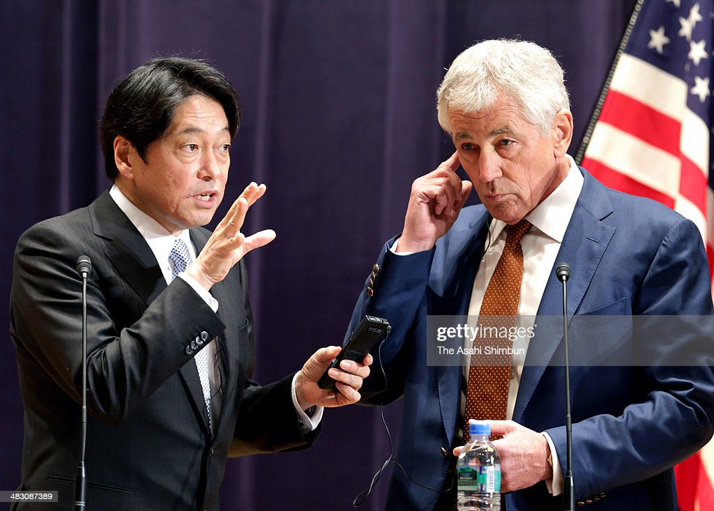 U.S. Secretary of Defense <a gi-track='captionPersonalityLinkClicked' href=/galleries/search?phrase=Chuck+Hagel&family=editorial&specificpeople=504963 ng-click='$event.stopPropagation()'>Chuck Hagel</a> (R) and Japanese Defense Minister <a gi-track='captionPersonalityLinkClicked' href=/galleries/search?phrase=Itsunori+Onodera&family=editorial&specificpeople=2547583 ng-click='$event.stopPropagation()'>Itsunori Onodera</a> participate in a joint news conference at the Japanese Minister of Defense headquarters April 6, 2014 in Tokyo, Japan. Secretary Hagel announced that the U.S. is planning to forward-deploy two additional AEGIS ballistic missile defense ships to Japan by 2017.