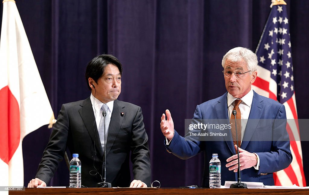 U.S. Secretary of Defense Chuck Hagel (R) and Japanese Defense Minister Itsunori Onodera participate in a joint news conference at the Japanese Minister of Defense headquarters April 6, 2014 in Tokyo, Japan. Secretary Hagel announced that the U.S. is planning to forward-deploy two additional AEGIS ballistic missile defense ships to Japan by 2017.
