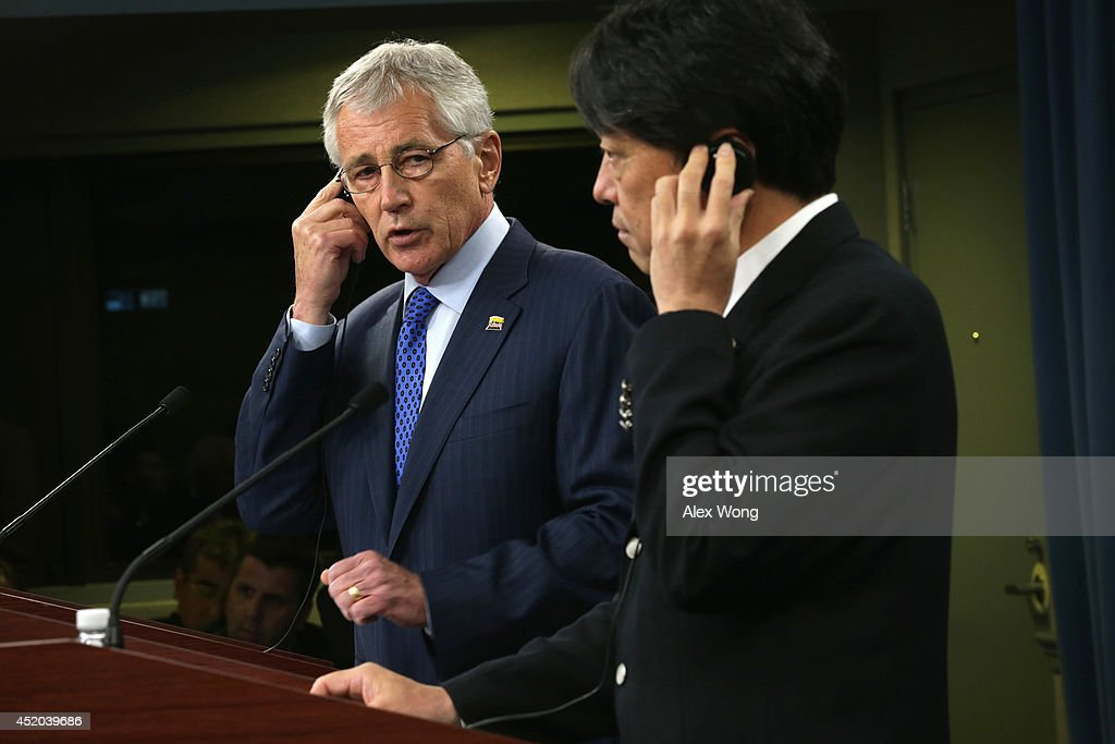 U.S. Secretary of Defense <a gi-track='captionPersonalityLinkClicked' href=/galleries/search?phrase=Chuck+Hagel&family=editorial&specificpeople=504963 ng-click='$event.stopPropagation()'>Chuck Hagel</a> (L) and Japanese Minister of Defense <a gi-track='captionPersonalityLinkClicked' href=/galleries/search?phrase=Itsunori+Onodera&family=editorial&specificpeople=2547583 ng-click='$event.stopPropagation()'>Itsunori Onodera</a> (R) participate in a joint news conference at the Pentagon July 11, 2014 in Arlington, Virginia. Onodera is on an eight-day visit in the U.S.