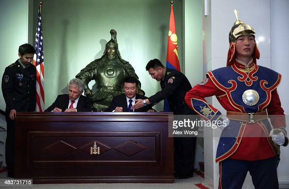 S Secretary of Defense Chuck Hagel and Mongolian Defense Minister Dashdemberal BatErdene participate in a signing ceremony of a joint vision...