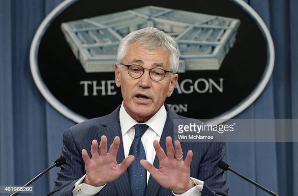 S Secretary of Defense Chuck Hagel answers questions during a press briefing at the Pentagon January 22 2015 in Arlington Virginia The press briefing...