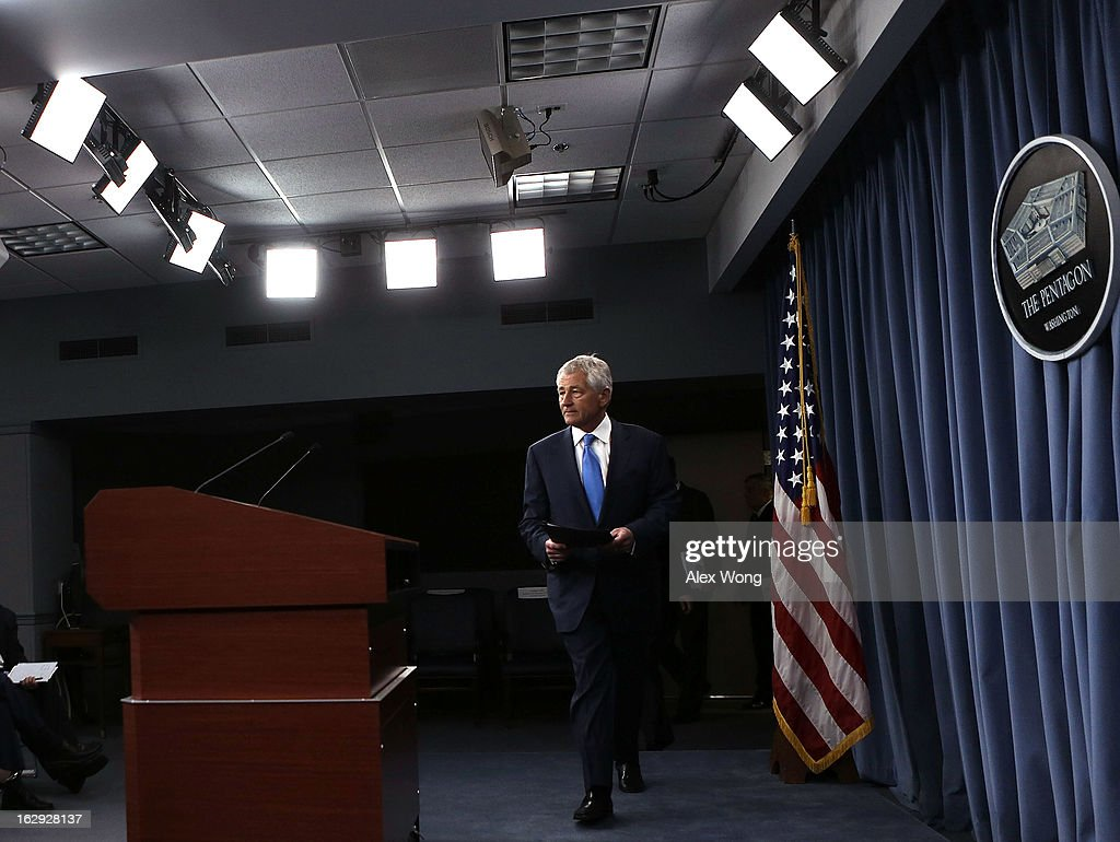 U.S. Secretary of Defense <a gi-track='captionPersonalityLinkClicked' href=/galleries/search?phrase=Chuck+Hagel&family=editorial&specificpeople=504963 ng-click='$event.stopPropagation()'>Chuck Hagel</a> arrives at a news briefing March 1, 2013 at the Pentagon in Arlington, Virginia. Secretary Hagel spoke on the impact of the sequestration to the Department of Defense.