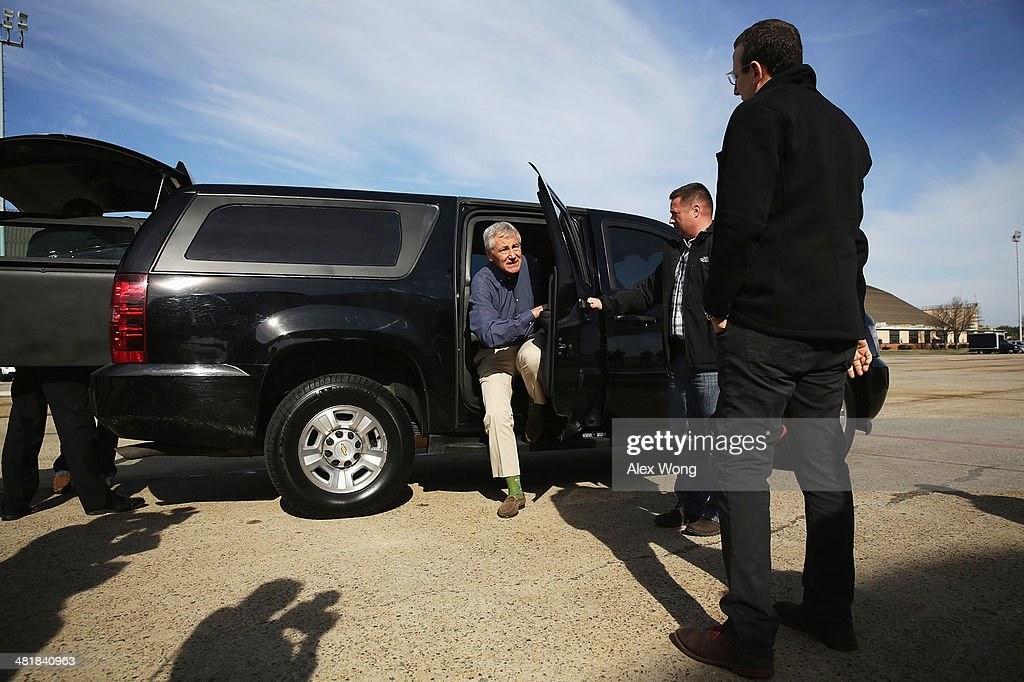 U.S. Secretary of Defense <a gi-track='captionPersonalityLinkClicked' href=/galleries/search?phrase=Chuck+Hagel&family=editorial&specificpeople=504963 ng-click='$event.stopPropagation()'>Chuck Hagel</a> (C) arrives for his departure April 1, 2014 at Joint Base Andrews, Maryland. Hagel is heading to Hawaii to host a meeting of defense ministers from the Association of Southeast Asian Nations (ASEAN) from April 1 to 3.