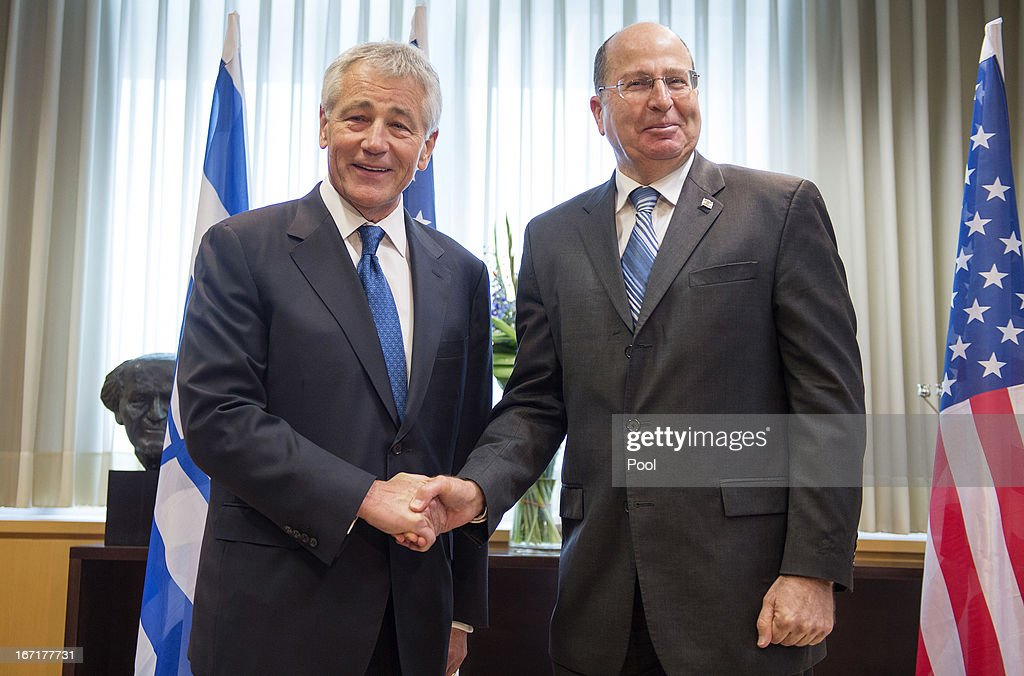 US Secretary of Defense <a gi-track='captionPersonalityLinkClicked' href=/galleries/search?phrase=Chuck+Hagel&family=editorial&specificpeople=504963 ng-click='$event.stopPropagation()'>Chuck Hagel</a> attends a meeting with Israeli Minister of Defense Moshe Yaalon at the Ministry of Defense on April 22, 2013 in Tel Aviv, Israel. Hagel will visit Israel, Jordan, Saudi Arabia, Egypt and the United Arab Emirates on his first trip to the Mideast as Pentagon chief.