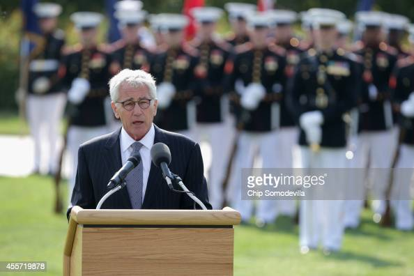 Secretary of Defense Chuck Hagel delivers remarks during the Defense Department's National POW/MIA Recognition Day Ceremony on the Pentagon River...