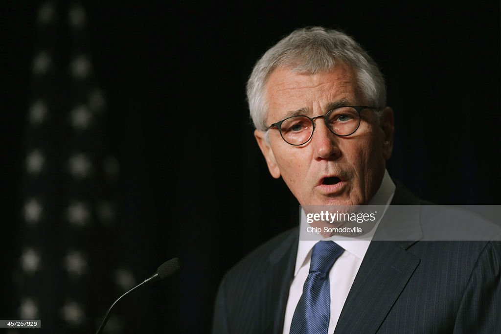 Secretary of Defense <a gi-track='captionPersonalityLinkClicked' href=/galleries/search?phrase=Chuck+Hagel&family=editorial&specificpeople=504963 ng-click='$event.stopPropagation()'>Chuck Hagel</a> delivers the keynote address during the Association of the United States Army annual meeting and exposition at the Washington Convention Center October 15, 2014 in Washington, DC. The AUSA is a private, non-profit advocacy organization for the United States Army. According to a New York Times article published in the paper October 15, 'From 2004 to 2011, American and Iraqi troops repeatedly encountered, and at times were wounded by, chemical weapons that were hidden or abandoned years earlier.'