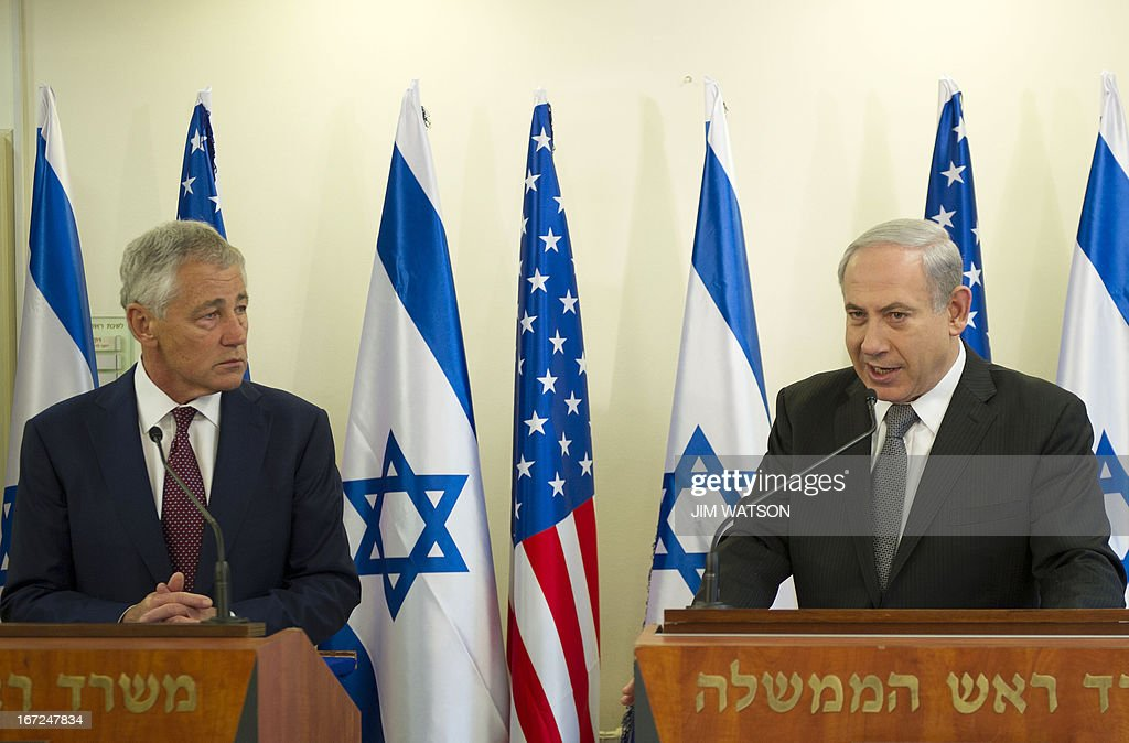 US Secretary of Defense Chuck Hagel (L) gives a joint press conference with Israeli Prime Minister Benjamin Netanyahu at his office in Jerusalem, on April 23, 2013, at the end of a three-day trip which saw him touting strong backing for Israel despite differences over Iran's nuclear project.